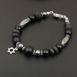 Браслет мужской (гематит, шунгит, лава, серебро 925, подвеска звезда Давида)