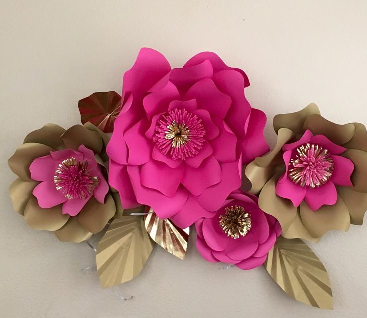 6 Kate Spade inspired Giant paper flowers pink and gold ...