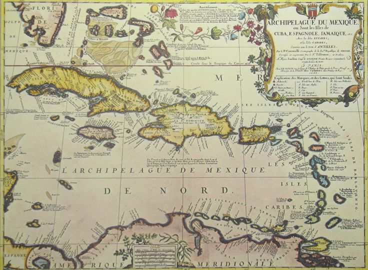 antique reproduction of the west indies in 1688 map 1295