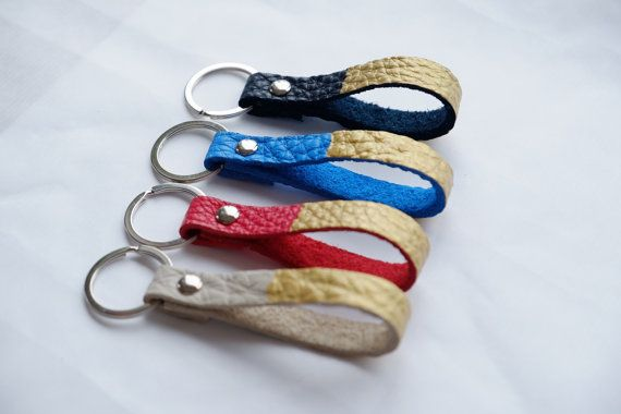 Set of 4 Gold Leather Keychains as Bridesmaids Gift by MayaaCo