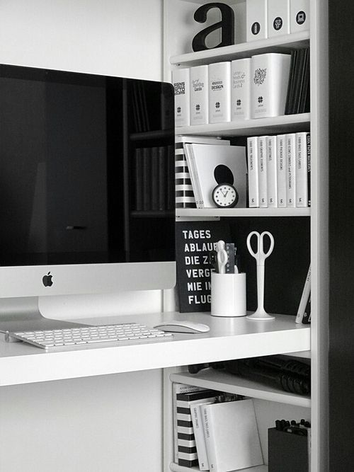 Study corner - Minimalistic appearance is achieved with a desk colour matching…