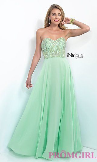 Floor Length Strapless Sweetheart Prom Dress from Intrigue by Blush at PromGirl.com