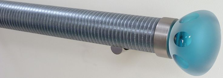 Walcot House 50mm Metallic Wrapped & Tracked Curtain Pole,Zinc, Lunar Teal Found on www.justpoles