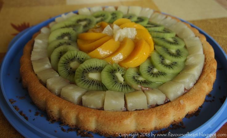 fruit #tart with chocolate cream