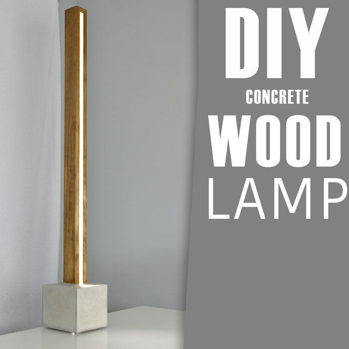 Farmhouse Living Room Lamps Diy Concrete And Wood Led Floor Lamp Farmhouseliving Roomlamps Concrete Diy Wall Lamps Diy Led Floor Lamp