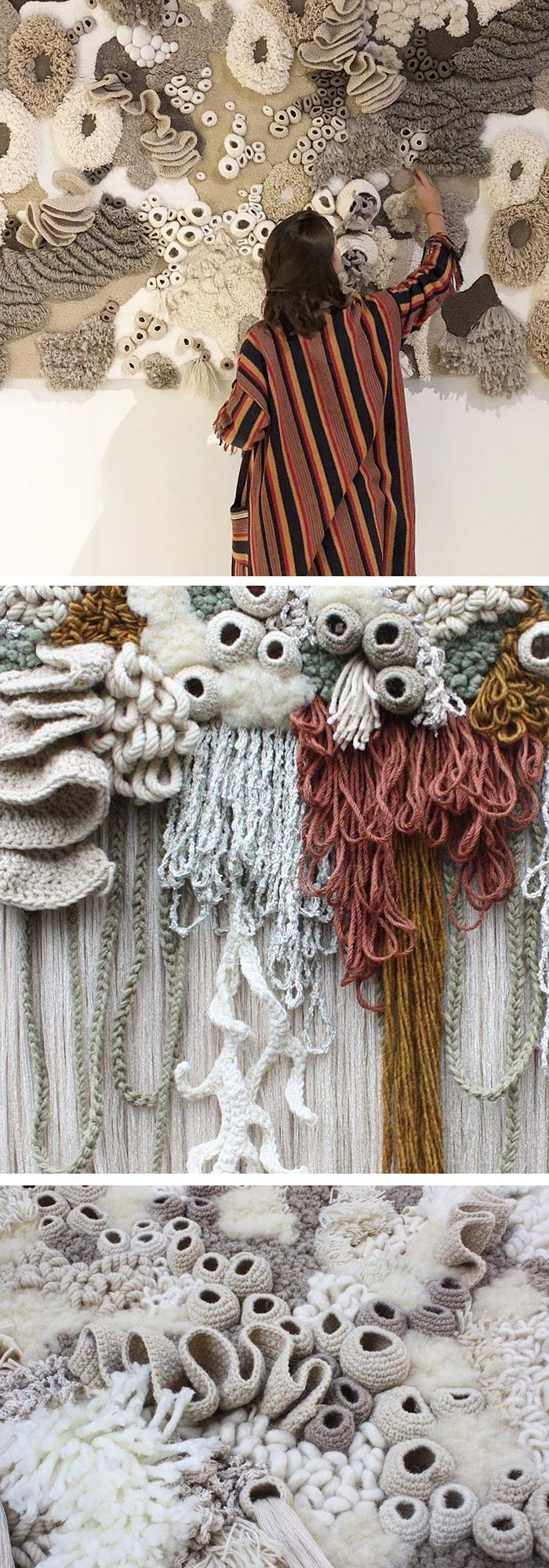 Artist Vanessa Barragão creates 3D textile art inspired by the Earth's coral reef ecosystem. #fiberart #crochetart