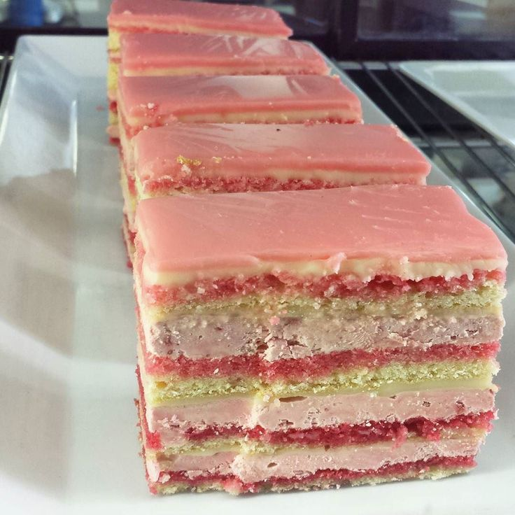 Wishing I had a slice of this Rose Raspberry and White Chocolate Opera Cake right now! #greatoceanroad by mytravelingjoys   Opera cake. Cake. Food