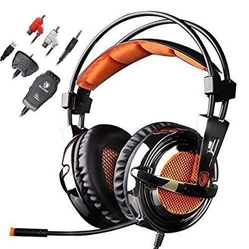 Sades SA928 Stereo Lightweight Professional Gaming Headsets Headphone Headband with Microphone Volume Control for PC Laptop PS3 Xbox 360 *** Visit the image link more details.