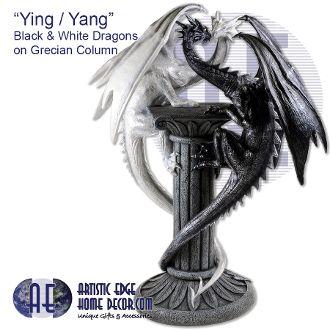 """Ying / Yang"" - Black and White Dragons on Grecian Column"