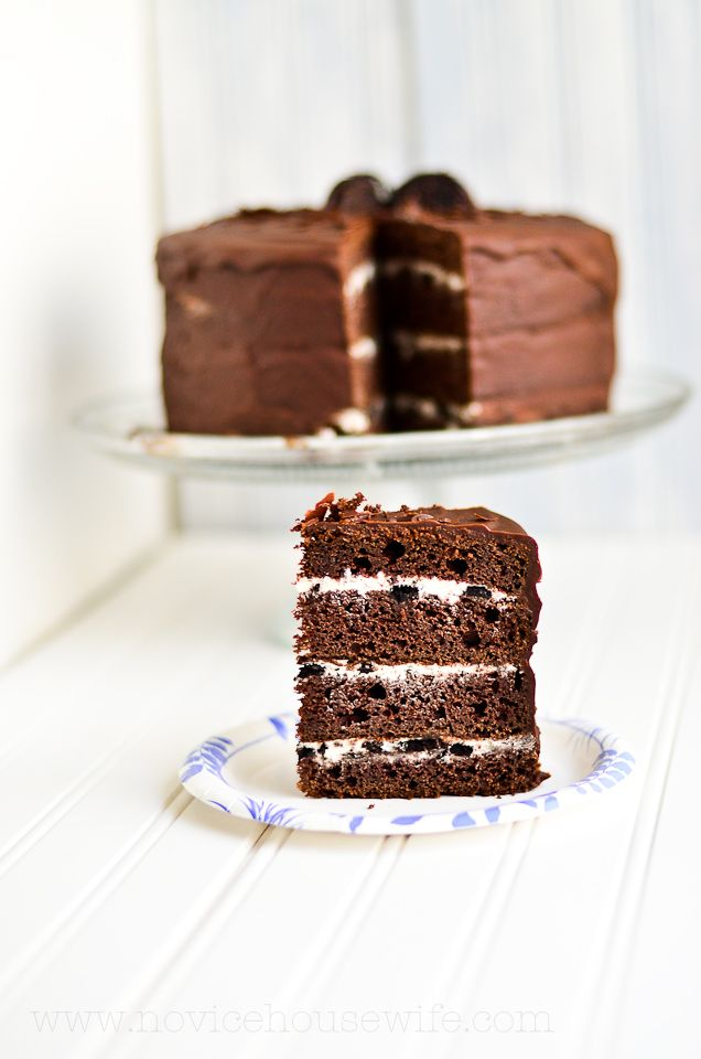 Four layer chocolate cake with oreo cream cheese frosting! Chocolate and oreo cookie lover's delight!