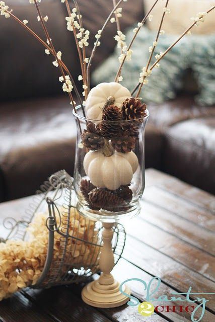 white pumpkins & pinecones. simple fall decor.: Fall Decoration, Decor Ideas, Autumn, Pinecones, Falldecor, Pine Cones, Winter Centerpieces, White Pumpkins, Vase Fillers