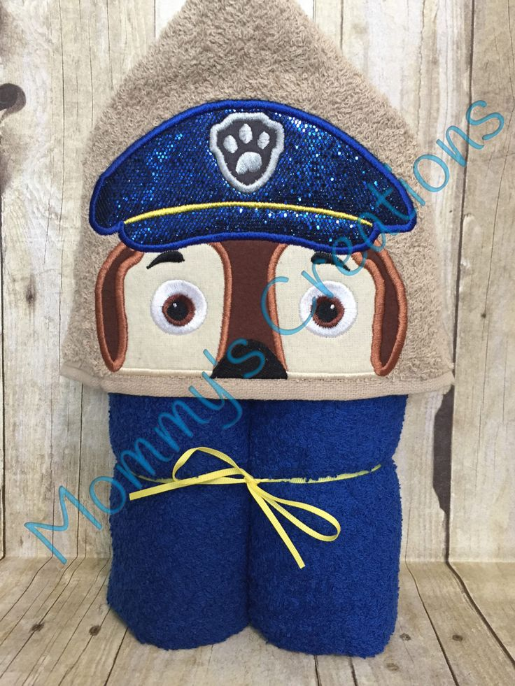 """Cop Pup Applique Hooded Bath Towel, Beach Towel 30"""" x 54"""" by MommysCraftCreations on Etsy"""