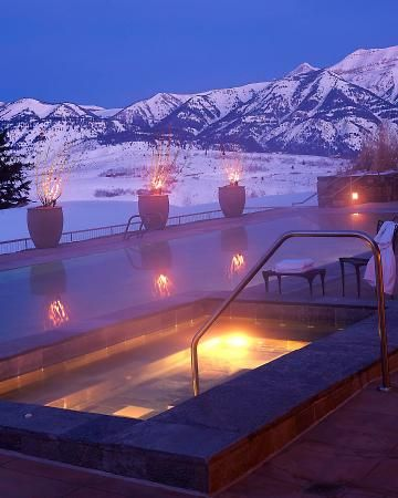 Amangani, Jackson Hole, Wyoming...I want to relax in an outdoor hot tub while it's snowing.