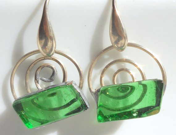 "Green glass earrings glass and silver sterling by Dartisanglass  FOR YOU ONLY! code ""PINTERESTFRIEND"" -20% until 31 march"