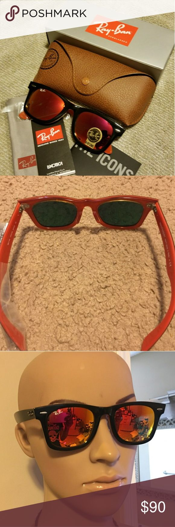 Ray Ban Wayfarer Sunglasses Red RB2140 50MM NEW Ray Ban Wayfarer Sunglasses RB2140 RED AND BLACK 50mm Lens   Comes with all you see in pictures  BRAND NEW!!!  SIZE: 50MM   MAKE ME AN OFFER!   PLEASE NO LOW BALLERS!! Ray-Ban Accessories Sunglasses