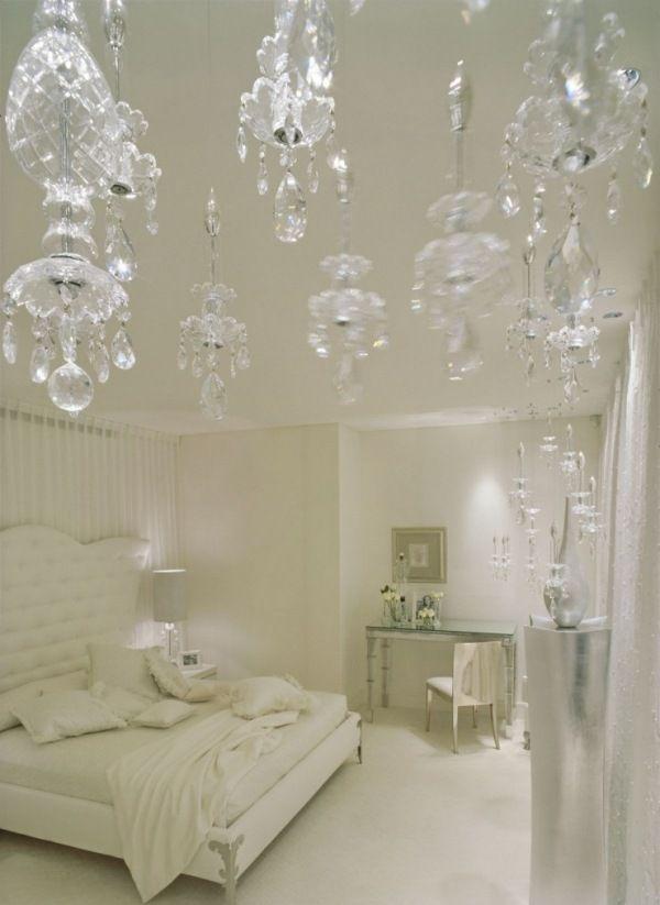 Schlafzimmer luxus weiß kristall kreunleuchter
