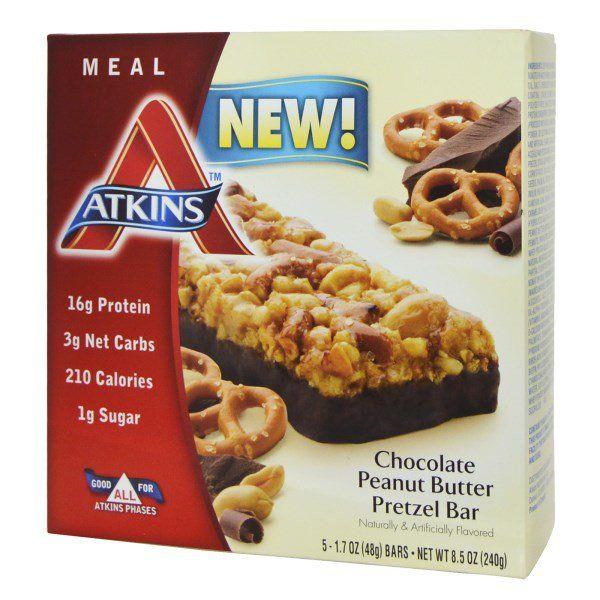 Atkins, チョコレートピーナッツバター・プレッツェルバー, 5 本, 各 1.7 オンス (48 g)