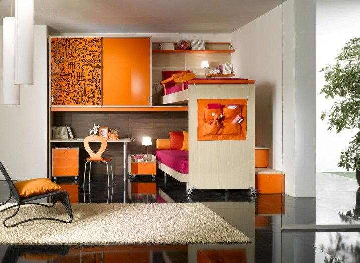 Contamporary Orange And White Kids Boys Room Design With Small Study Space  Underneath The Cabinet And Modern Loft Bed Design Also Soft White Rug  Accessories ...
