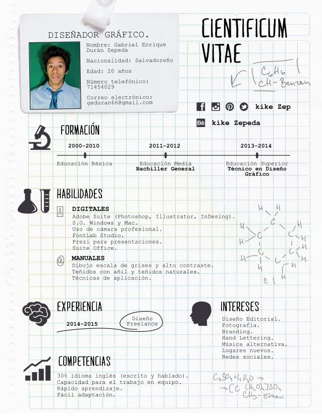 Curriculum creativo  Concepto: ciencia loca