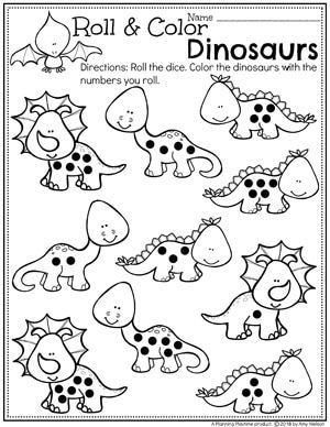 Dinosaur Worksheets for Preschool - Dinosaur Counting Activity. #dinosaurworksheets #preschoolworksheets #preschool #dinosaurs