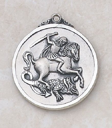 "Saint George Soldiers Sterling Silver Special Devotion Medal Made of Sterling Silver Measures 15⁄16"" Dia, 24"" L Chain Saint George was a soldier and officer of the Roman Guard under emperor Diocletian"