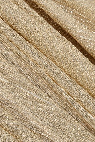 Halston Heritage - Metallic Lurex Mini Dress - Gold -