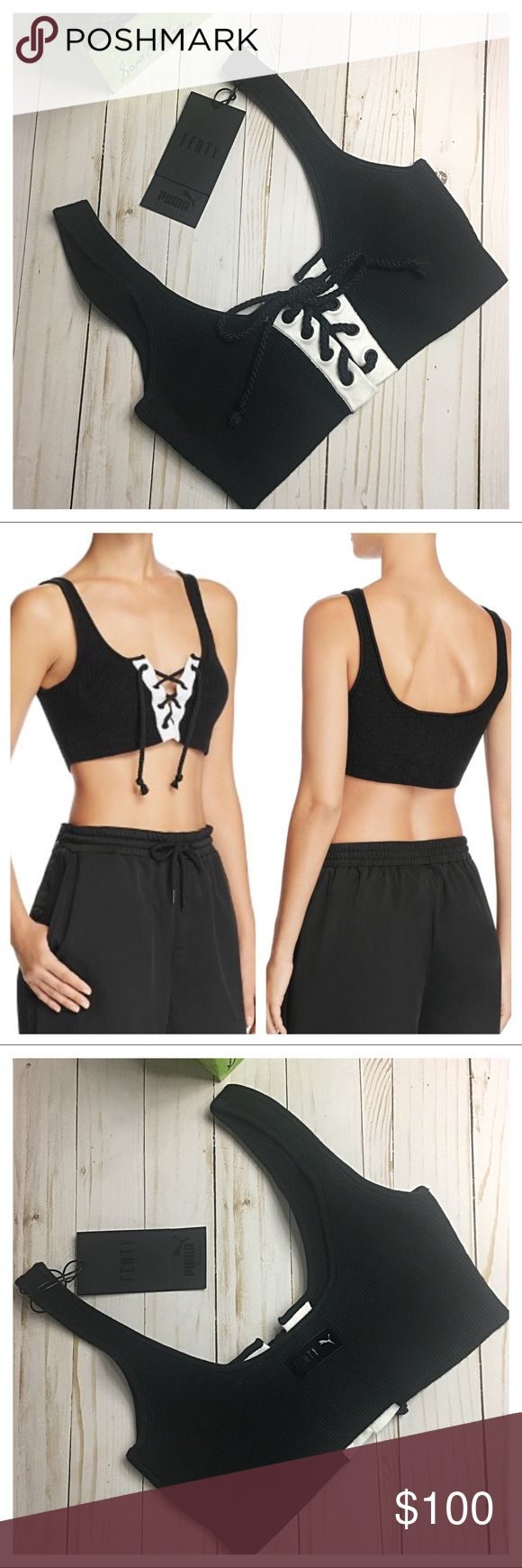 """NWT Fenty Puma by Rihanna Lace-Up Long Bra NWT Fenty Puma by Rihanna Lace-Up Long Bra, Black/White * Fenty Puma by Rihanna ribbed knit bra with front lacing detail. * Scoop neckline; logo patch at back. * Sleeveless; cut-in shoulders. * Approximately 13"""" from high point shoulder  to hem  * Fits true to size * Cotton/nylon/spandex; contrast: cotton  * Hand wash. * Imported No TRADES. Please use offer button to negotiate. Thanks! Puma Intimates & Sleepwear Bras"""