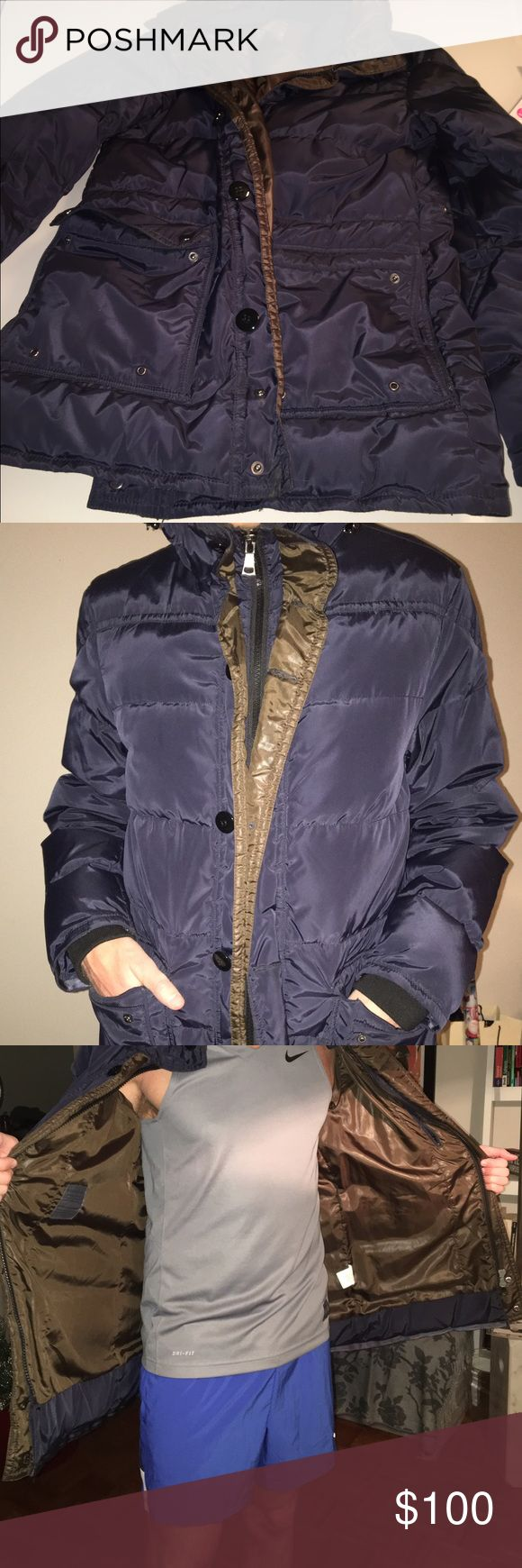 Paul Taylor men Parka Coat ( worn just once) Like new brown inside and dark blue outside men Paul Taylor Parka Coat Paul Taylor Jackets & Coats Puffers