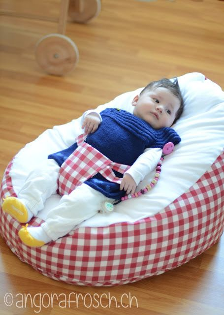 Cute idea..little baby bean bag with 'harness' type way to secure bubs