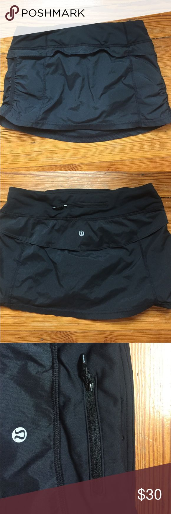 """Lululemon Run Jog skirt - black - size 4 Lululemon Run Jog skirt - black - size 4. Worn a few times for tennis, in perfect condition. I love this style of skirt - it's not frilly, it's more sleek and athletic looking. 12"""" from waist to bottom. lululemon athletica Skirts Mini"""