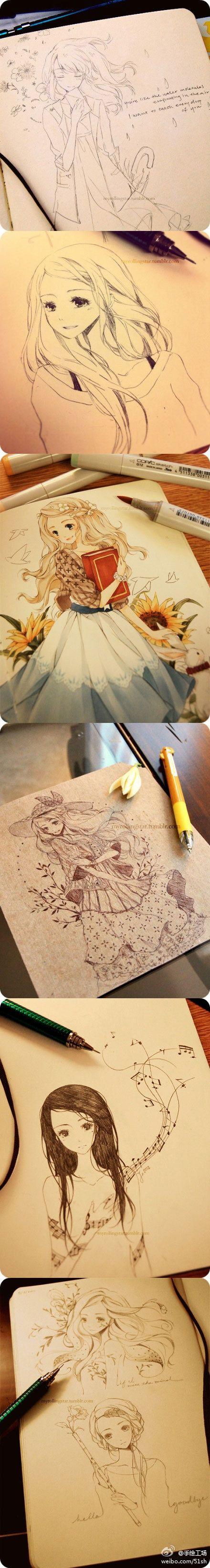 ✮ ANIME ART ✮ anime girls. . .drawing. . .doodle. . .work in progress. . .pen. . .marker. . .cute. . .kawaii
