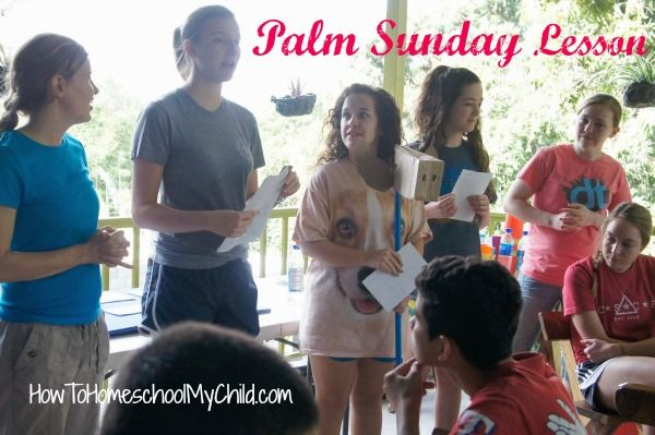 Palm Sunday lesson - acting out the story of Jesus on the donkey from HowToHomeschoolMyChild.com