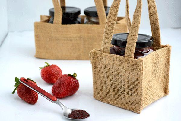 Jam! #Barama #Giftideas #Giftpackaging #Packaging #Gourmetfood #Jam #Strawberries #Jute #Hessian #Presents