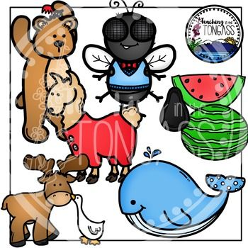 """You dare not go! This 16 piece clipart bundle features elements from the children's song """"Down by the Bay"""" (made popular by Raffi).  This bundle includes a whole watermelon, watermelon slice, watermelon seed, whale with a polka dot tale, a goose kissing a moose, a llama wearing pajamas, a fly wearing a tie, and a bear coming his hair."""