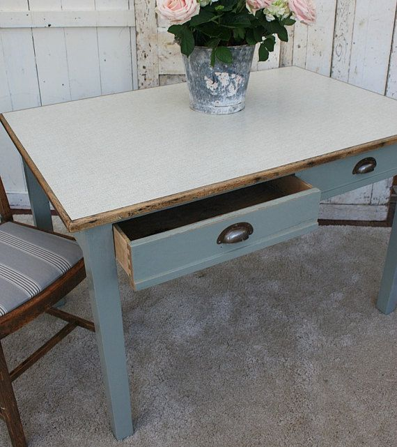 "35"" x 48"" Farrow and Ball Pigeon Solid Wood / Kitchen Table / Vintage Table / Painted Table /"
