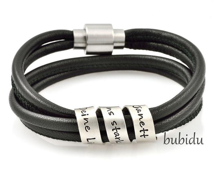 Armbänder - MÄNNERARMBAND MIT GRAVUR, HERRENARMBAND, LEDER - ein Designerstück von bubidu bei DaWanda