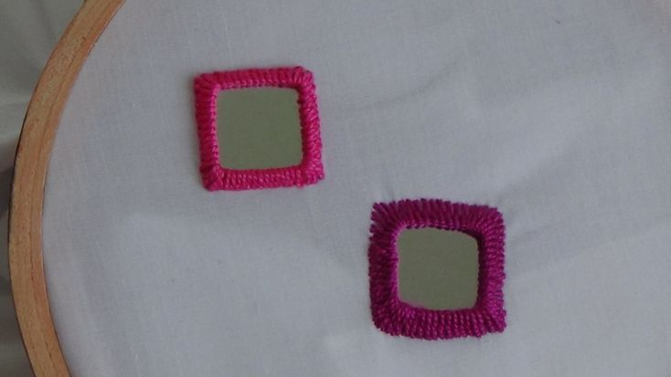 Hand Embroidery: Mirror Work Stitch - shisha embroidery with square mirrors