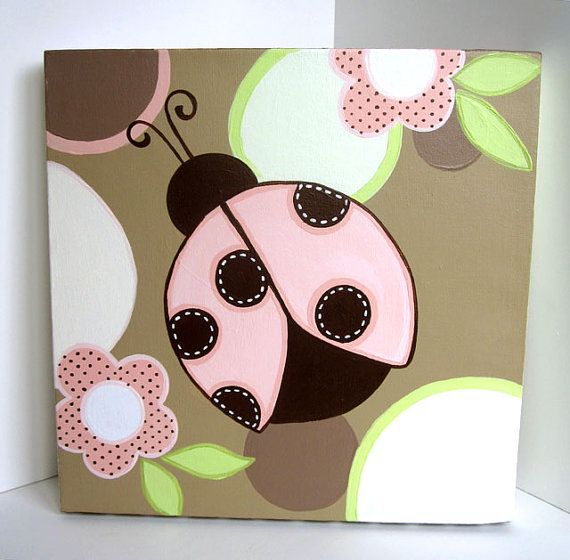 Wall Art Pink and Brown Ladybugs  Set of 2 by MurrayDesignShop, $95.00