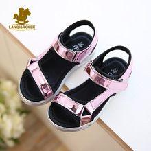 Hot Prodej Nová móda Děti Sandály Dětské Dívky Sequin sandály Letní Boys Girl růžové zlato stříbrné sandály boty Velikost 27-37 (Čína (pevninská část))