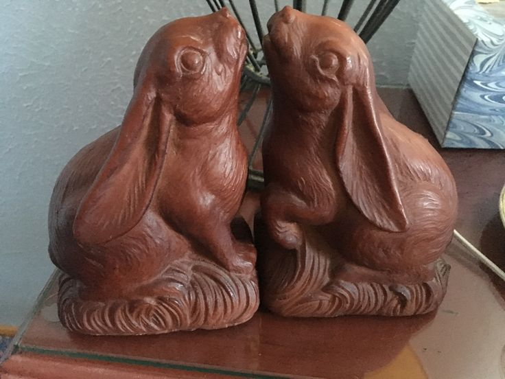 Bunny bookends are today's flea market find! Webster Flea is so fun.