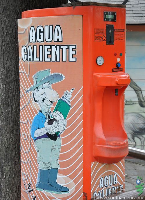 """A vending machine selling Hot Water in Argentina.  Why?  It's for their """"Mate"""" drink."""