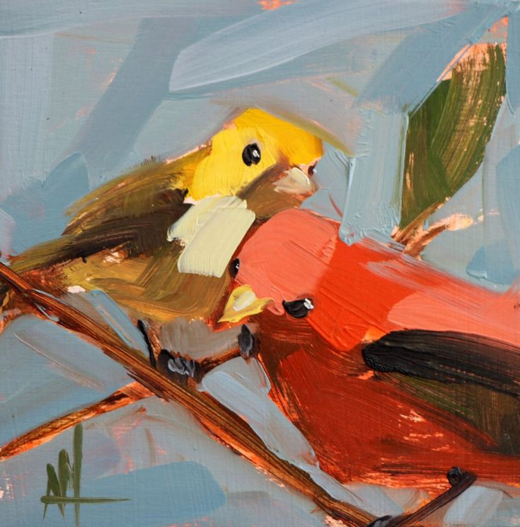 Two Summer Tanagers, Male and Female Original Bird Oil Painting by Angela Moulton