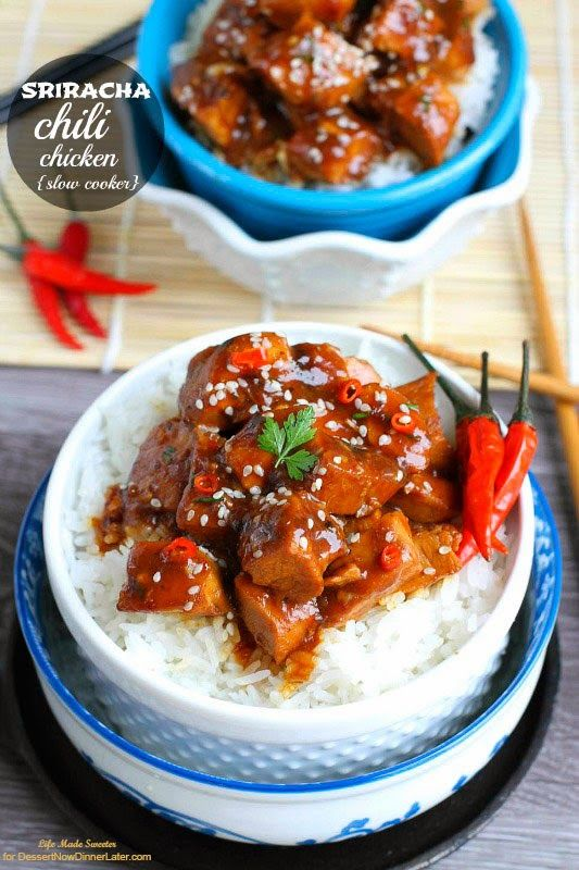 {Slow Cooker} Sriracha Chili Chicken - Life Made Sweeter - No need to order, this is better than take-out with this easy and delicious slow cooker version.  Homemade and healthier. @LifeMadeSweeter