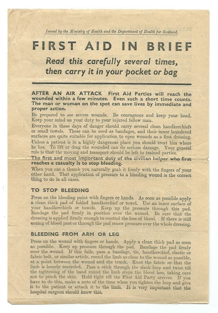 FIRST AID IN BRIEF LEAFLET - AFTER AN AIR ATTACK  HEALTH MINISTRY WW2 HOME FRONT
