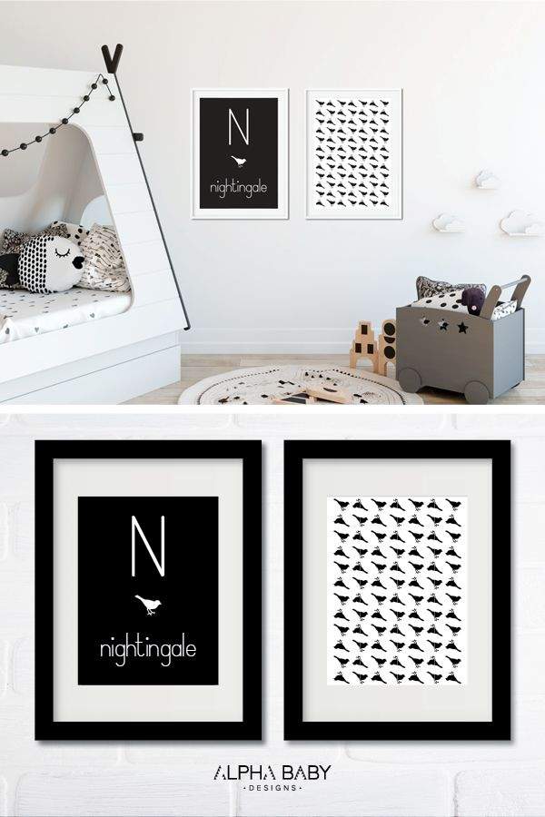 An easy way to update the kids room with a personalized letter poster set – instant download! N for Nightingale by Alpha Baby Designs