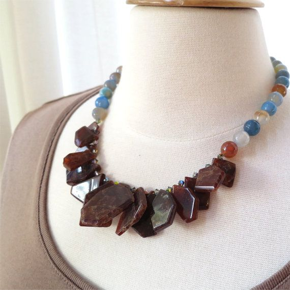 Necklace hessonite drops and blue agate short by planettreasures