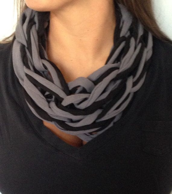 Arm knitted single tee-shirt yarn infinity scarves.