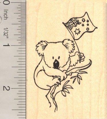 Koala with Australian Flag Rubber Stamp H13320 WM