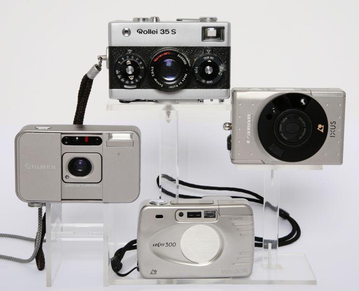 4 mini compacts analoog  4 compact camera's van naam2 kleinbeeld / 2 APS analoog 1. Canon Ixus ( in doos ) 2. Rollei 35 S met Sonnar 2.8 / 40 mm. 3. Minolta Vectis 300 ( aps ) 4. Fuji DL super mini ( aps ) 28 mm. lensmooi voor verzamelingRollei 35S heeft een deukje in bovenkap.  EUR 40.00  Meer informatie