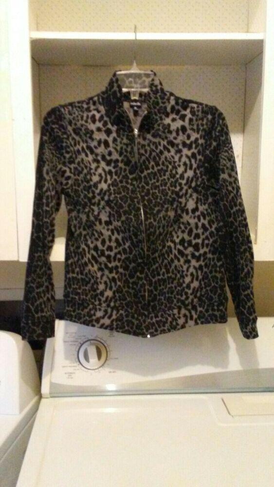 191943c76b3c Rafaella Women M grey Black Leopard Animal Print zipper Top #fashion # clothing #shoes #accessories #womensclothing #tops (ebay link)
